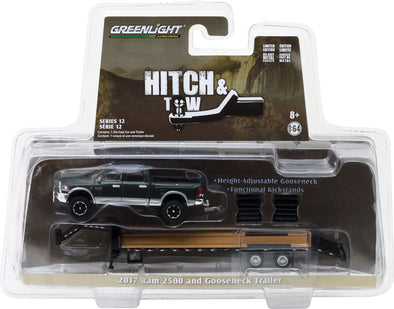 GreenLight 1/64 Hitch & Tow Series 12 - 2017 Ram 2500 and Gooseneck Trailer Solid Pack #32120-D