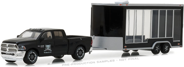 GreenLight 1/64 Hitch & Tow Series 13 - Graveyard Carz (2012-Current TV Series) - 2016 Ram 2500 and Glass Display Trailer Solid Pack #32130-D