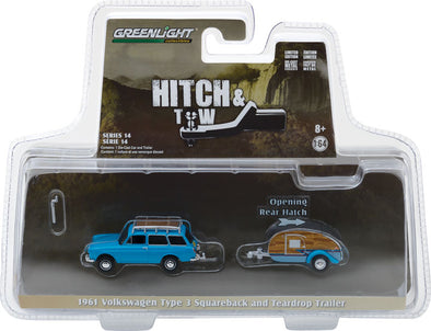 GreenLight 1/64 Hitch & Tow Series 14 - 1961 Volkswagen Type 3 Squareback with Tear Drop Trailer Solid Pack #32140-A