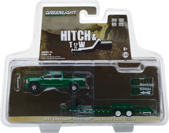 GreenLight 1/64 Hitch & Tow Series 14 - 2015 Chevy Silverado and Heavy Duty Car Hauler Solid Pack #32140-B
