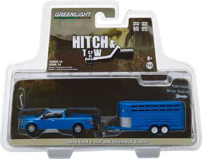 GreenLight 1/64 Hitch & Tow Series 14 - 2016 Ford F-150 with Blue Livestock Trailer Solid Pack #32140-C