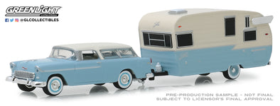 GreenLight 1/64 Hitch & Tow Series 16 - 1955 Chevrolet Nomad and Shasta Airflyte with Awning Solid Pack  #32160-A