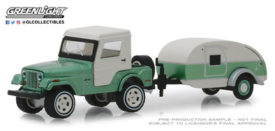 GreenLight 1/64 Hitch & Tow Series 16 - 1972 Jeep CJ-5 Half-Cab and Teardrop Trailer Solid Pack #32160-B