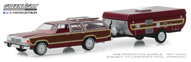 GreenLight 1/64 Hitch & Tow Series 16 - 1981 Ford LTD Country Squire and Pop-Up Camper Trailer Solid Pack #32160-C