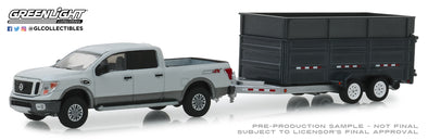 GreenLight 1/64 Hitch & Tow Series 16 - 2018 Nissan Titan XD Pro-4X and Double-Axle Dump Trailer Solid Pack #32160-D