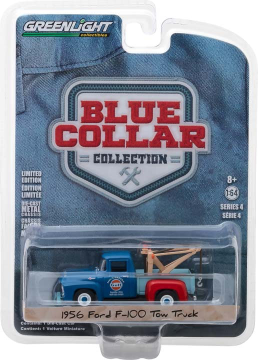 GreenLight 1/64 Blue Collar Collection Series 4 - 1956 Ford F-100 Tow Truck - Mel's Garage Gulf Oil Solid Pack - #35100-A