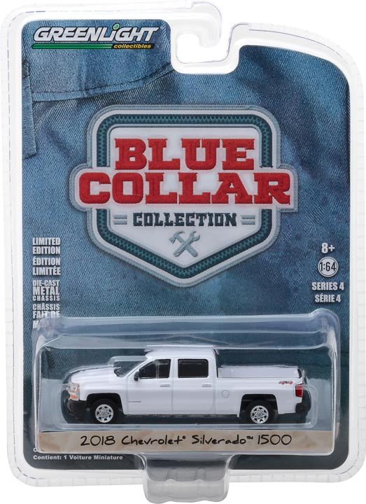 GreenLight 1/64 Blue Collar Collection Series 4 - 2018 Chevrolet Silverado W/T Solid Pack - #35100-F