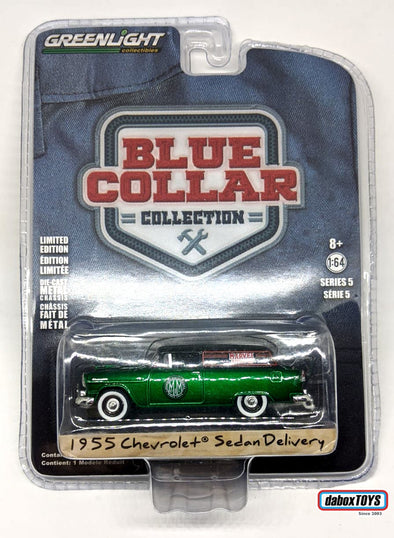 """GREEN MACHINE"" - GreenLight 1/64 Blue Collar Collection Series 5 -1955 Chevrolet Sedan Delivery - Marvel Mystery Oil Solid Pack - #35120-A"