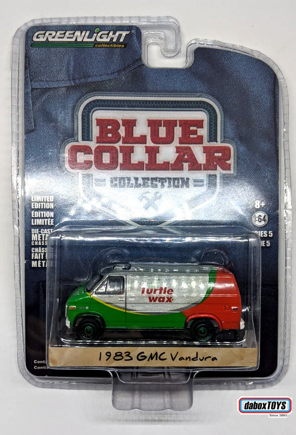 """GREEN MACHINE"" - GreenLight 1/64 Blue Collar Collection Series 5 -1983 GMC Vandura - Turtle Wax Solid Pack - #35120-E"