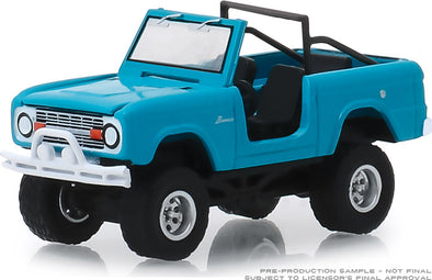 GreenLight 1/64 All-Terrain 8 - 1967 Ford Bronco (Doors Removed) - Teal Solid Pack - #35130-A