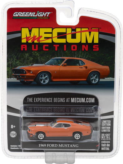GreenLight 1/64 Mecum Auctions Collector Cars Series 1 - 1969 Ford Mustang Resto Mod - Orange with Silver Stripes Solid Pack  #37110-A