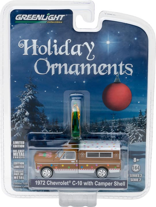 GreenLight 1/64 GreenLight Holiday Ornaments Series 2 - 1972 Chevrolet C-10 with Small Camper Solid Pack  #37120-D
