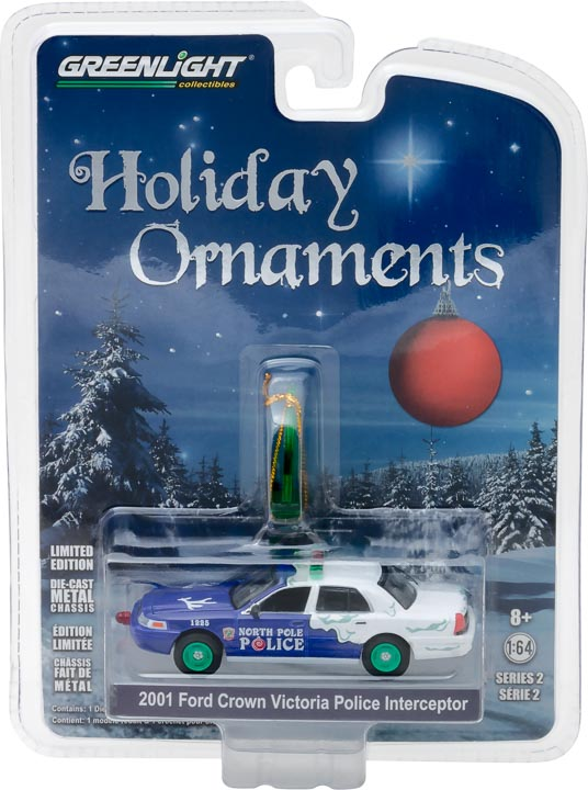 GreenLight 1/64 GreenLight Holiday Ornaments Series 2 - 2001 Ford Crown Victoria Police Interceptor North Pole Solid Pack  #37120-F