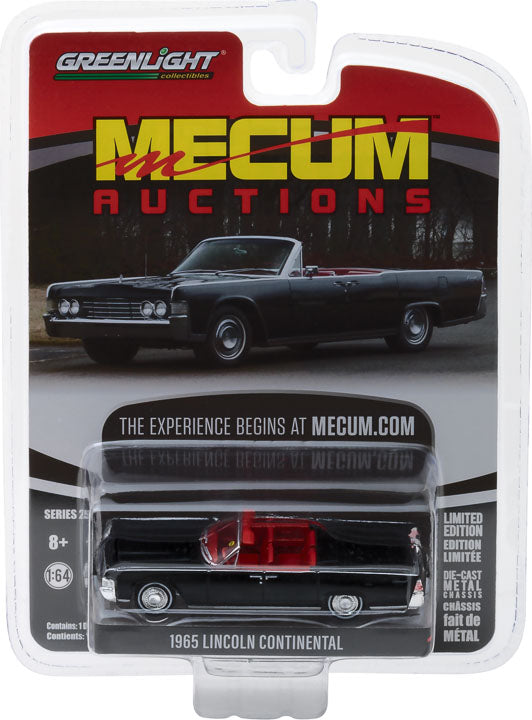 GreenLight 1/64 Mecum Auctions Collector Cars Series 2 - 1965 Lincoln Continental Convertible - Black (Indianapolis 2016) Solid Pack #37140-A
