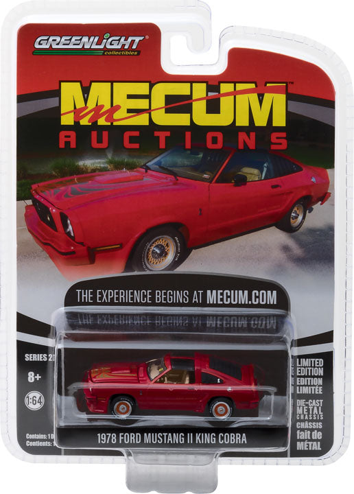 GreenLight 1/64 Mecum Auctions Collector Cars Series 2 - 1978 Ford Mustang II King Cobra - Red (Kansas City 2012) Solid Pack #37140-E