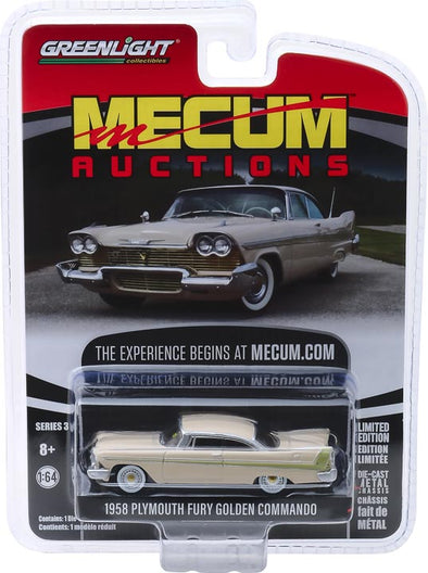 GreenLight 1/64 Mecum Auctions 3 - 1958 Plymouth Fury Golden Commando Solid Pack  #37170-B