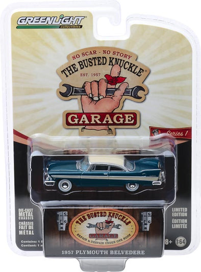 GreenLight 1/64 Busted Knuckle Garage 1 - 1957 Plymouth Belvedere Solid Pack - #39010-C