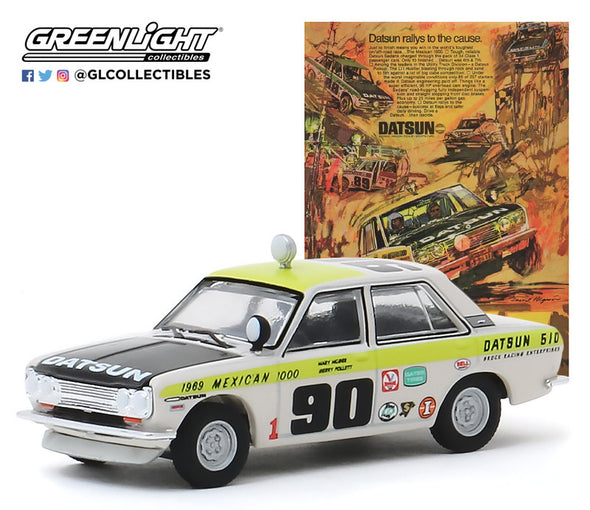 "GreenLight 1/64 Vintage Ad Cars Series 1 - 1969 Datsun 510 4-Door Sedan - #90 1969 Mexican 1000 - ""Datsun Rallys to the Cause"" - #39020-B"