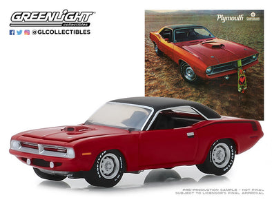 "GreenLight 1/64 Vintage Ad Cars Series 1 - 1970 Plymouth HEMI 'Cuda - ""Hello, New People. We have a New Car for You"" Solid Pack - #39020-C"