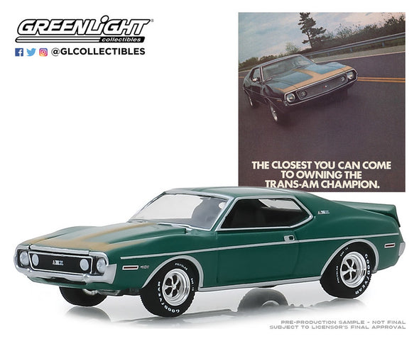 "GreenLight 1/64 Vintage Ad Cars Series 1 - 1972 AMC Javelin AMX - ""The Closest You Can Come to Owning the Trans-Am Champion"" Solid Pack - #39020-D"