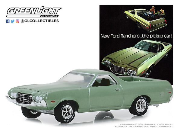 "GreenLight 1/64 Vintage Ad Cars Series 1 - 1972 Ford Ranchero - ""New Ford Ranchero…the Pickup Car!"" Solid Pack - #39020-E"