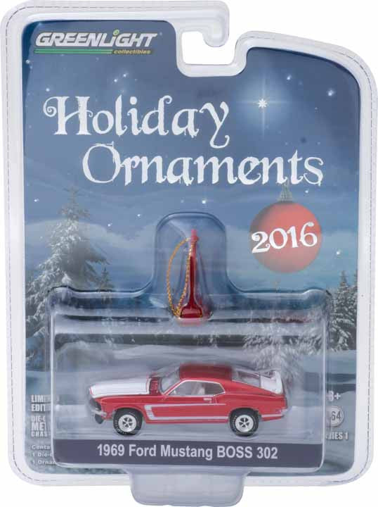 GreenLight 1/64 GreenLight Holiday Ornaments Series 1 - 1969 Ford Mustang BOSS 302 Solid Pack - #40100-C