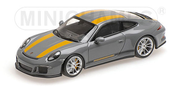 Minichamps 1/43 PORSCHE 911 R - 2016 - NARDOGREY W/ YELLOW STRIPES W/ BLACK #410066232