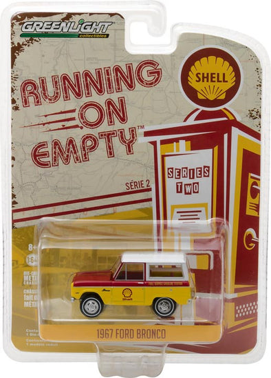 GreenLight 1/64 Running on Empty Series 2 - 1967 Ford Bronco - Shell Oil Solid Pack - #41020-B