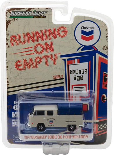 GreenLight 1/64 Running on Empty Series 2 - 1974 Volkswagen Double Cab Pickup with Canopy - Chevron Solid Pack - #41020-E