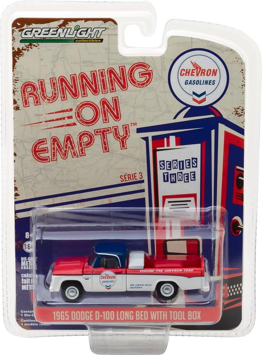 GreenLight 1/64 Running on Empty Series 3 - 1965 Dodge D-100 - Chevron Solid Pack - #41030-A