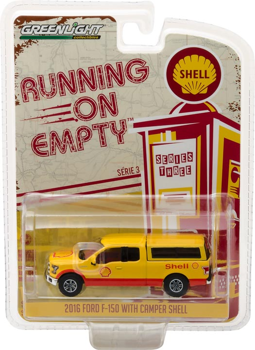 GreenLight 1/64 Running on Empty Series 3 - 2016 Ford F-150 with Camper Shell - Shell Oil Solid Pack - #41030-E