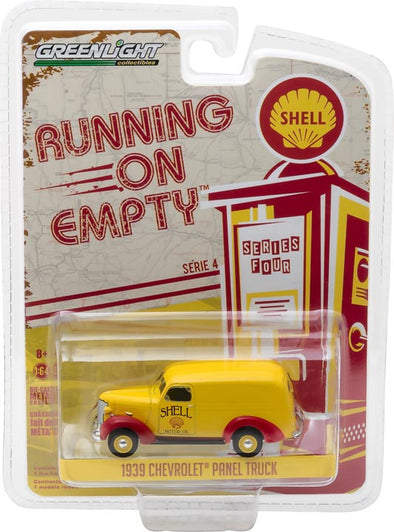 GreenLight 1/64 Running on Empty Series 4 - 1939 Chevrolet Panel Truck - Shell Oil Solid Pack - #41040-A