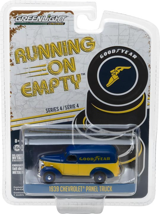 GreenLight 1/64 Running on Empty Series 4 - 1939 Chevrolet Panel Truck - Goodyear Tires Solid Pack - #41040-B
