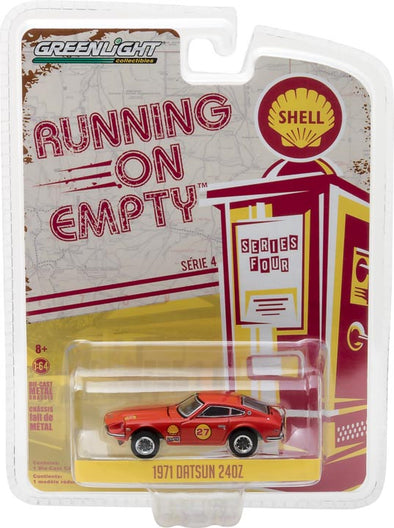 GreenLight 1/64 Running on Empty Series 4 - 1971 Datsun 240Z - Shell Oil Solid Pack - #41040-E
