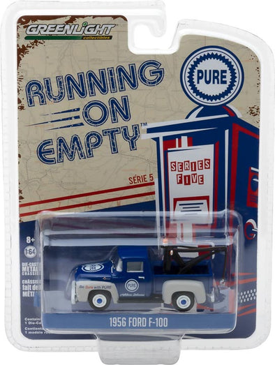 GreenLight 1/64 Running on Empty Series 5 - 1956 Ford F-100 with Drop-in Tow Hook Pure Oil 'Be Sure With Pure' Solid Pack - #41050-A