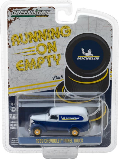 GreenLight 1/64 Running on Empty Series 5 - 1939 Chevrolet Panel Truck Michelin Solid Pack - #41050-B