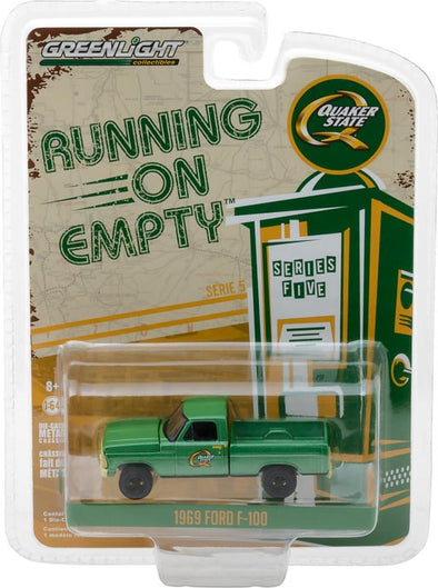 GreenLight 1/64 Running on Empty Series 5 - 1969 Ford F-100 Quaker State Solid Pack - #41050-D