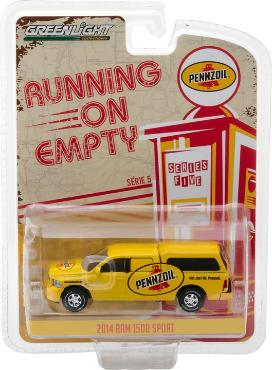 "GreenLight 1/64 Running on Empty Series 5 - 2014 Ram 1500 with Camper Shell Pennzoil ""Not just oil, Pennzoil"" Solid Pack - #41050-F"
