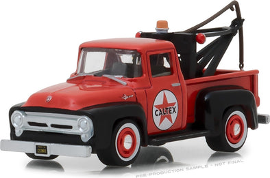 GreenLight 1/64 Running on Empty Series 6 - 1956 Ford F-100 with Drop-in Tow Hook - Caltex Solid Pack - #41060-A