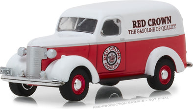 GreenLight 1/64 Running on Empty Series 6 - 1939 Chevrolet Panel Truck - Red Crown Gasoline Solid Pack - #41060-E