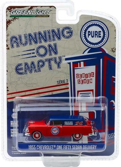GreenLight 1/64 Running on Empty Series 7 - 1955 Chevrolet One Fifty Sedan Delivery - Pure Oil Solid Pack - #41070-A