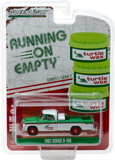 GreenLight 1/64 Running on Empty Series 7 - 1962 Dodge D-100 - Turtle Wax Solid Pack  - #41070-B