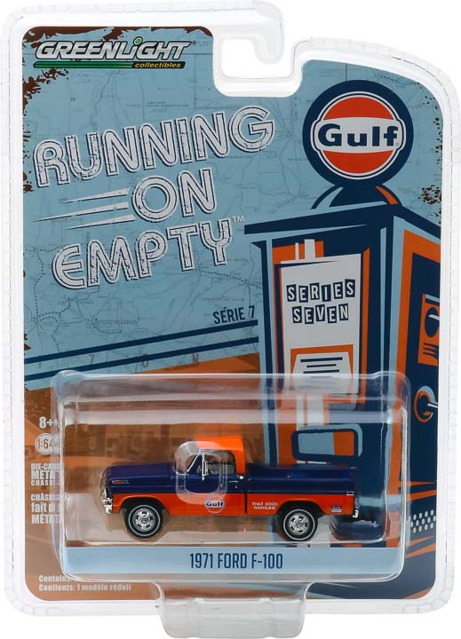 GreenLight 1/64 Running on Empty Series 7 - 1971 Ford F-100 - Gulf Oil Solid Pack - #41070-D