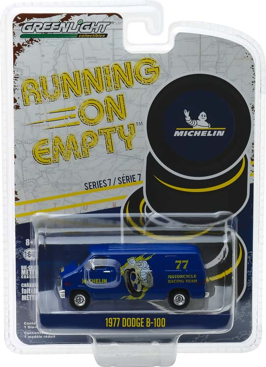 GreenLight 1/64 Running on Empty Series 7 - 1977 Dodge B-100 Van - Michelin Tires Solid Pack - #41070-E