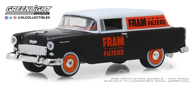 GreenLight 1/64 Running on Empty 8 - 1955 Chevy One Fifty Sedan Delivery - FRAM Solid Pack - #41080-C