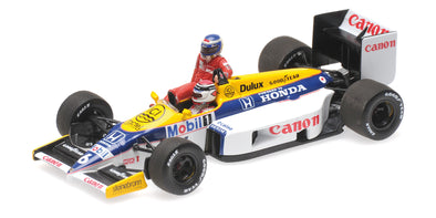 Minichamps 1/43 WILLIAMS HONDA FW11 – KEKE ROSBERG RIDING ON NELSON PIQUET – GERMAN GP 1986 - 410860106