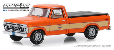 GreenLight 1/64 Running on Empty 9 - 1976 Ford F-100 with Bed Cover Gulf Oil - #41090-E