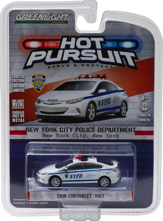 GreenLight 1/64 Hot Pursuit Series 20 - 2016 Chevy Volt - New York City Police Dept (NYPD) Solid Pack #42770-E