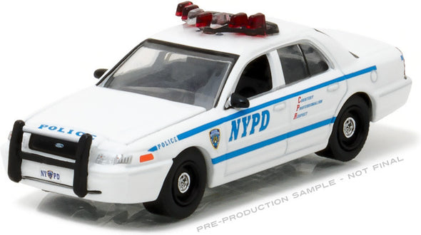 GreenLight 1/64 Hot Pursuit - 2011 Ford Crown Victoria Police New York City Police Dept (NYPD) with NYPD Squad Number Decal Sheet (Hobby Exclusive)  #42771
