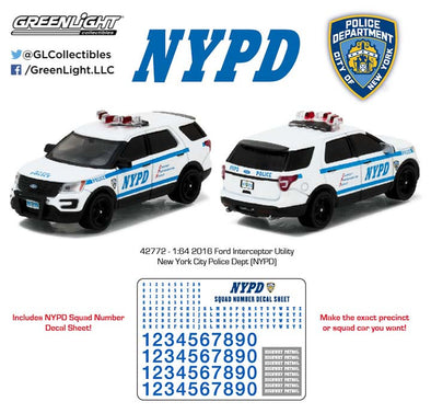 GreenLight 1/64 Hot Pursuit - 2016 Ford Interceptor Utility New York City Police Dept (NYPD) with NYPD Squad Number Decal Sheet (Hobby Exclusive)  #42772